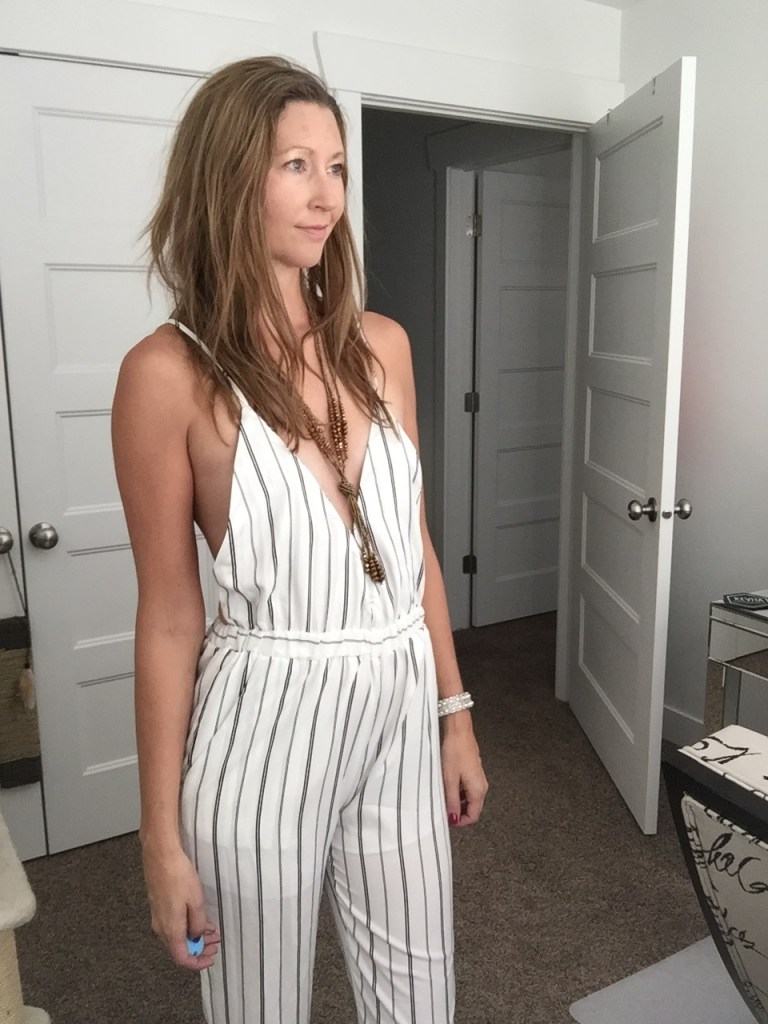 Sexy Striped White Low Cut Jumpsuit