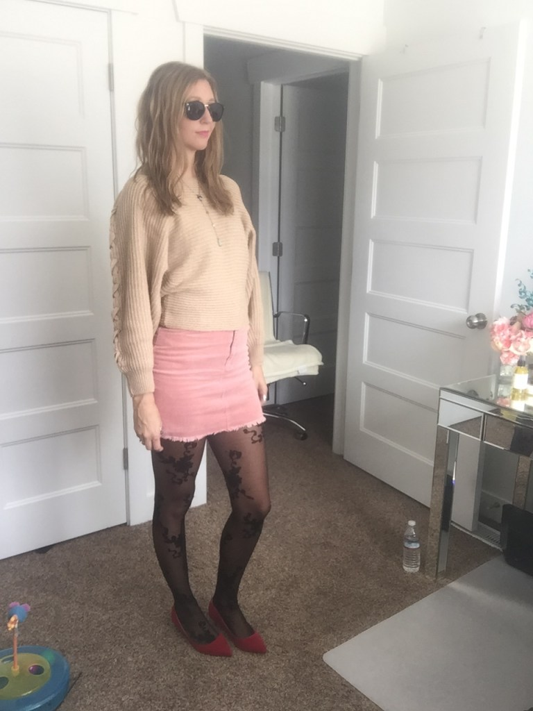 Chic Beige Cris Cross Sleeve Sweater and Pink Corduroy Mini