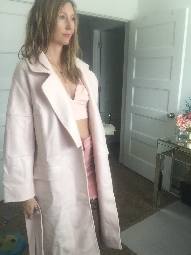 Blush Wool Coat over Crop top and skirt