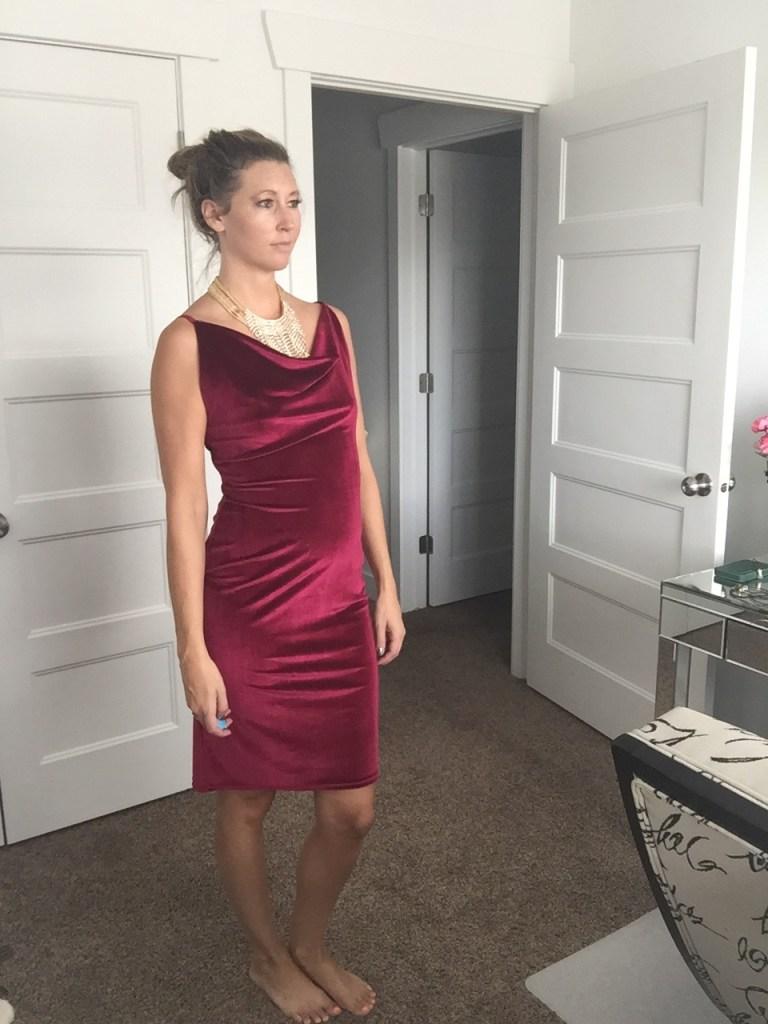 Sexy Red Wine Velvet Dress & Gold Fringe Necklace