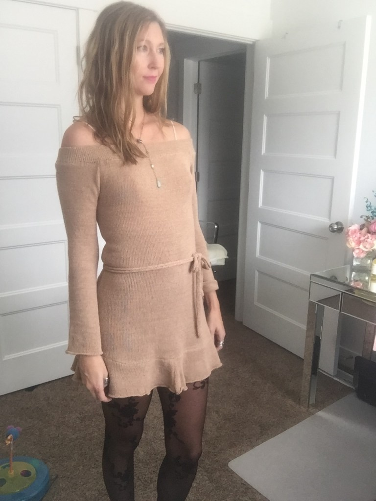 Khaki off the shoulder ruffle dress and floral tights