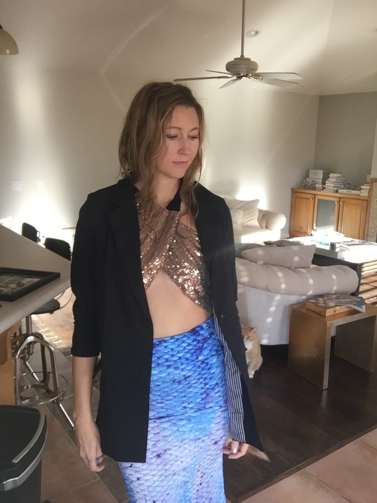 Black Blazer, Sequin Crop Top and Fish Scale Pencil Skirt