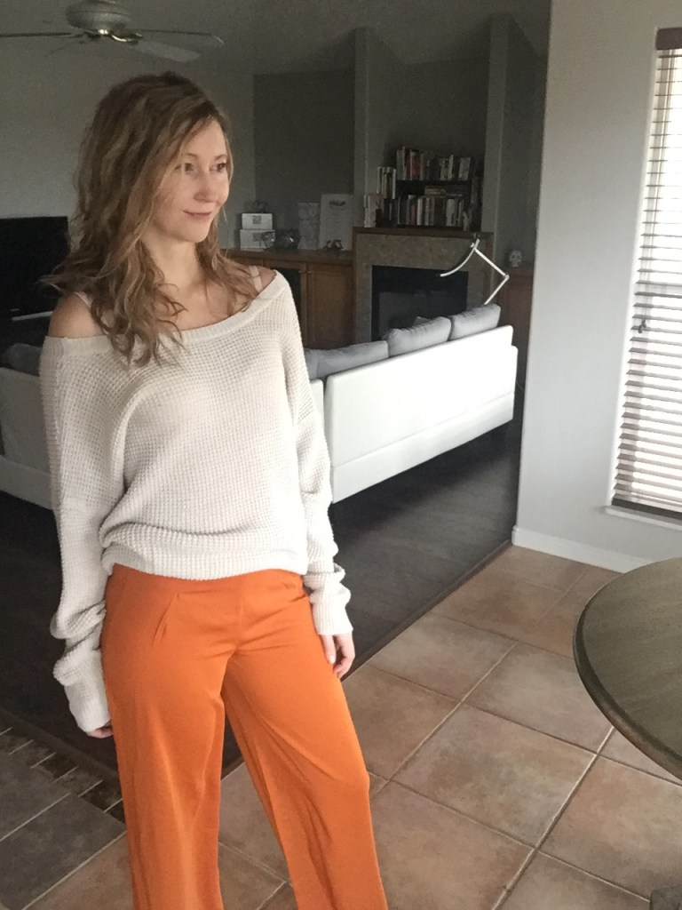 Open Back Beige Sweater $13 and Orange Trousers