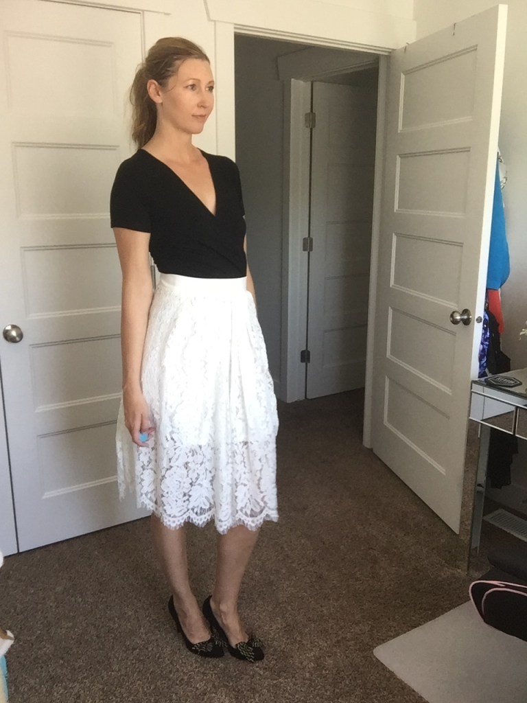 Black Tee and White Tiered Lace Skirt