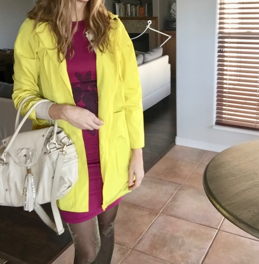 Yellow RainCoat and Burgundy Mini Dress w/Sparkle Tights
