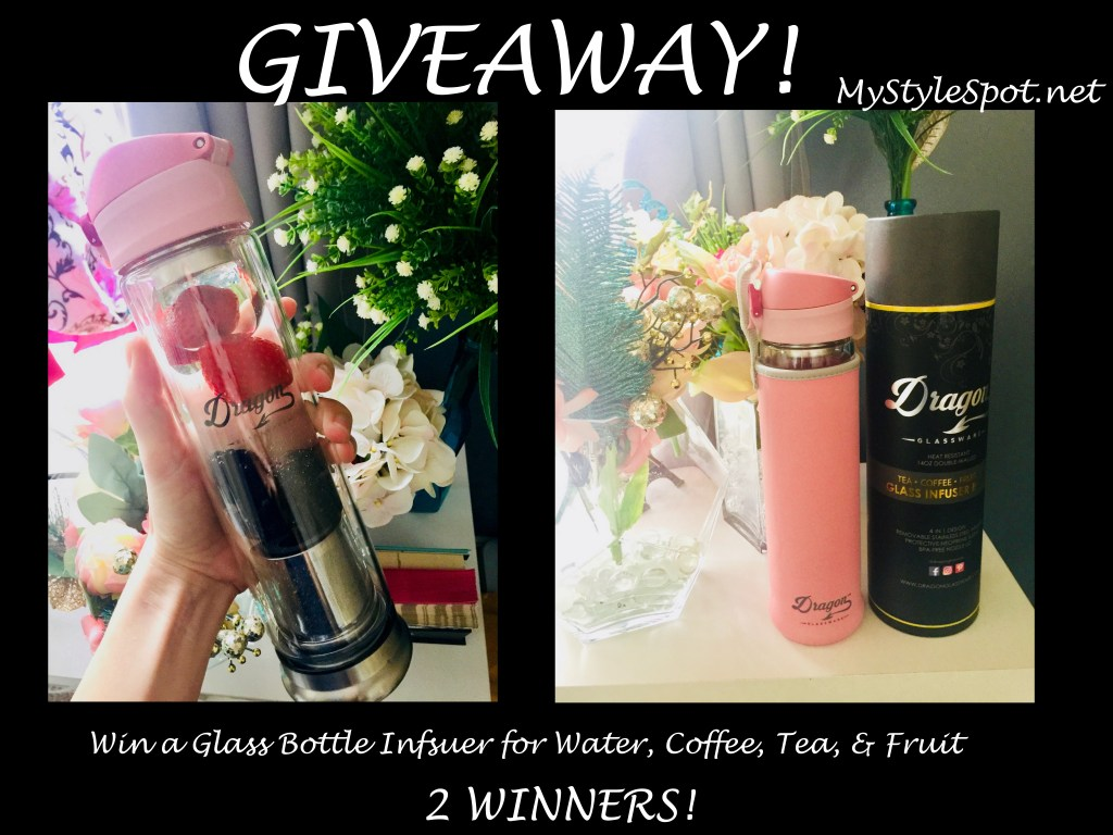 How to Motivate Yourself to Drink More Water: Dragon Glassware Glass Infuser Bottle + A GIVEAWAY