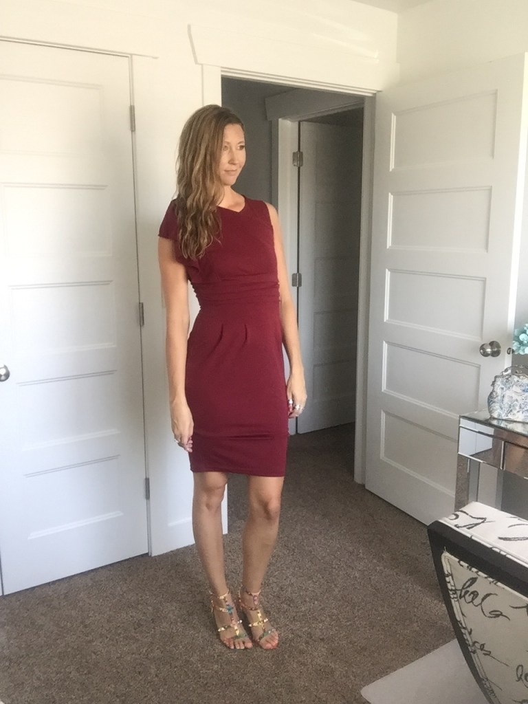 Chic Red Dress and Studded Sandals