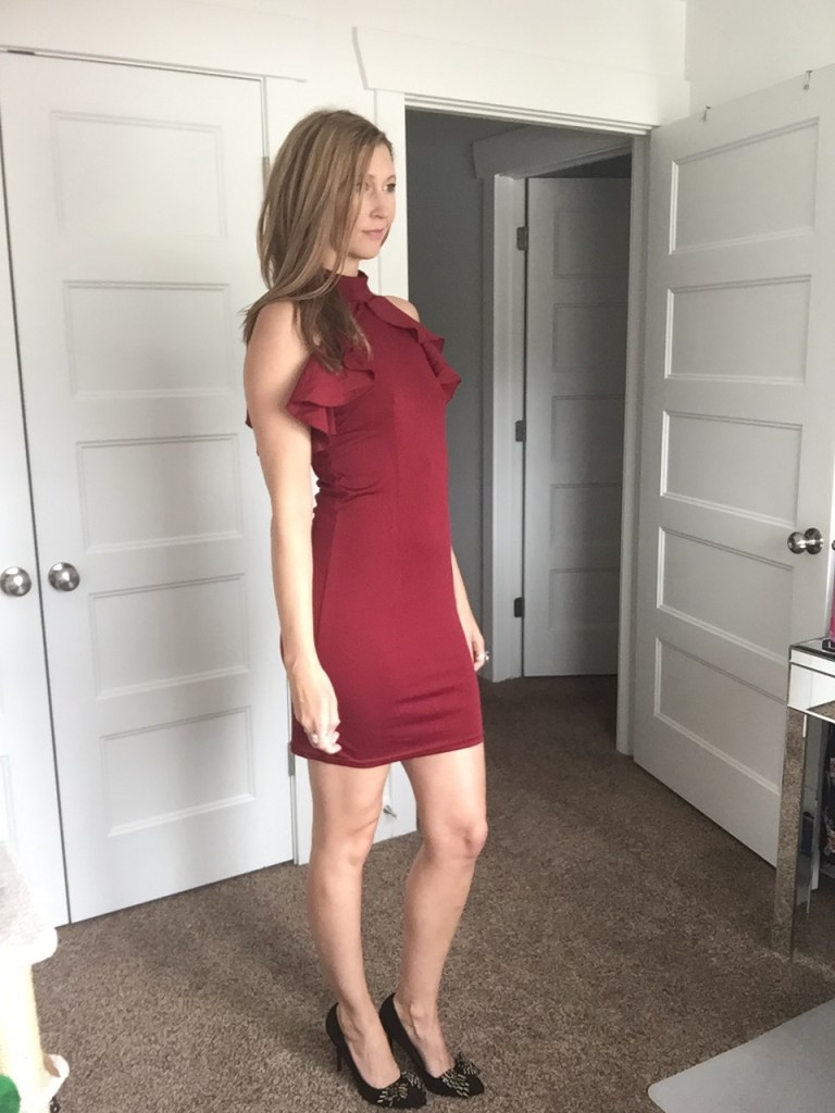 Chic Red Ruffled Halter Top Mini Dress
