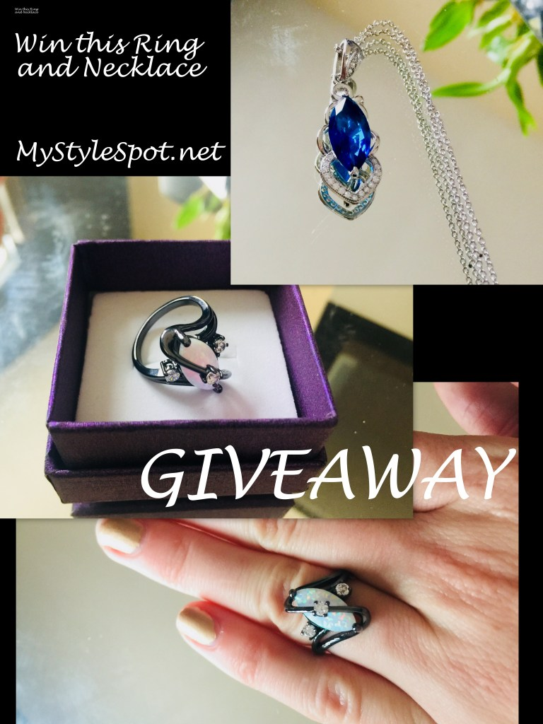 GIVEAWAY: Win a Black Plated White Opal Gemstone Ring + Blue Crystal Pendant Necklace + TONS of other Fab Prizes!