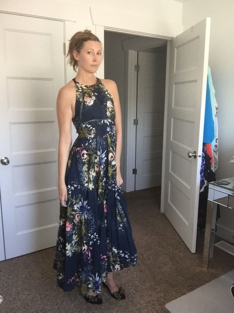 Chic Floral Halter Maxi Dress