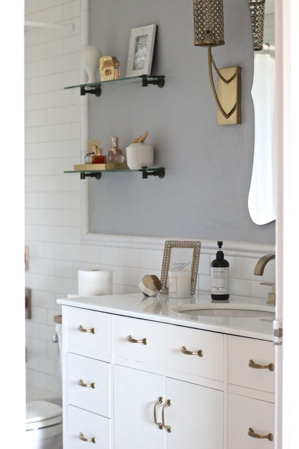 White Subway Tile Bathroom With Brass Fixtures on Bathroom Ideas Subway Tile  id=41839