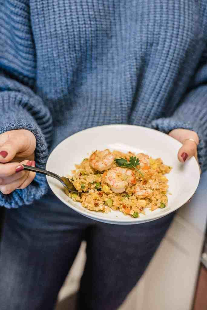 My Go To 10 Minute Shrimp Fried Rice Dinner Recipe by Jessica Camerata