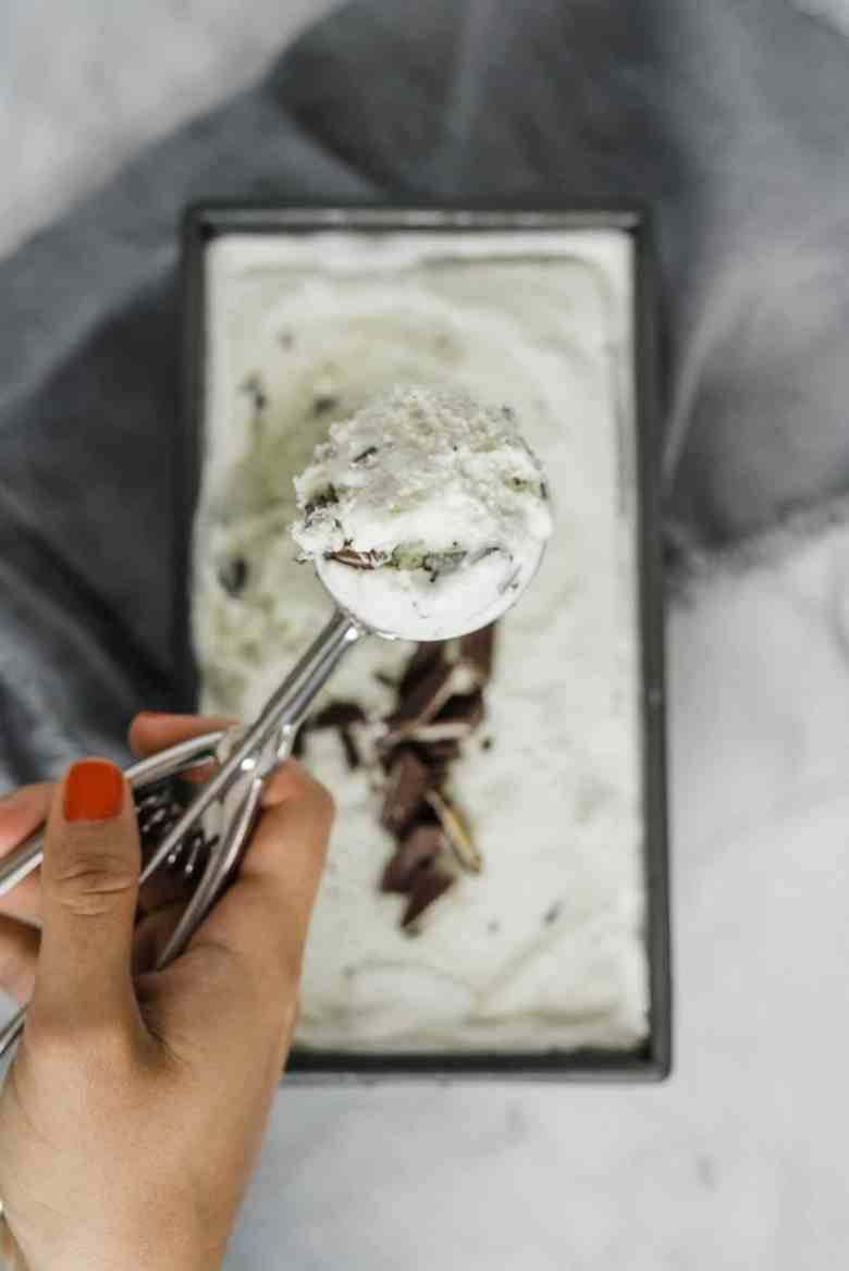 a scoop of homemade mint ice cream