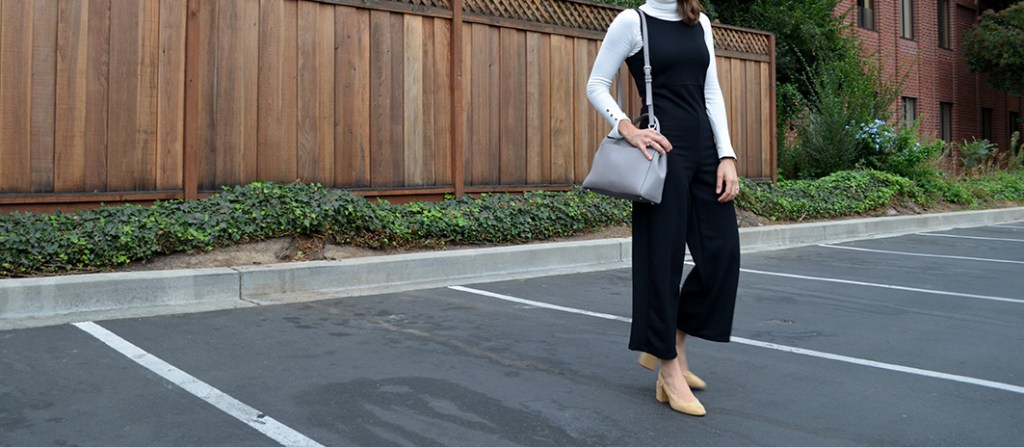 Black jumpsuit, black jumpsuit, slinkback, beige shows link back beige shows, fall style, chico style, fall chic style, stylist, turtle neck blouse, white blouse, chic jumpsuit, bay area blog, bay area blogger, jumpsuit style, fall 2016, karla vargas