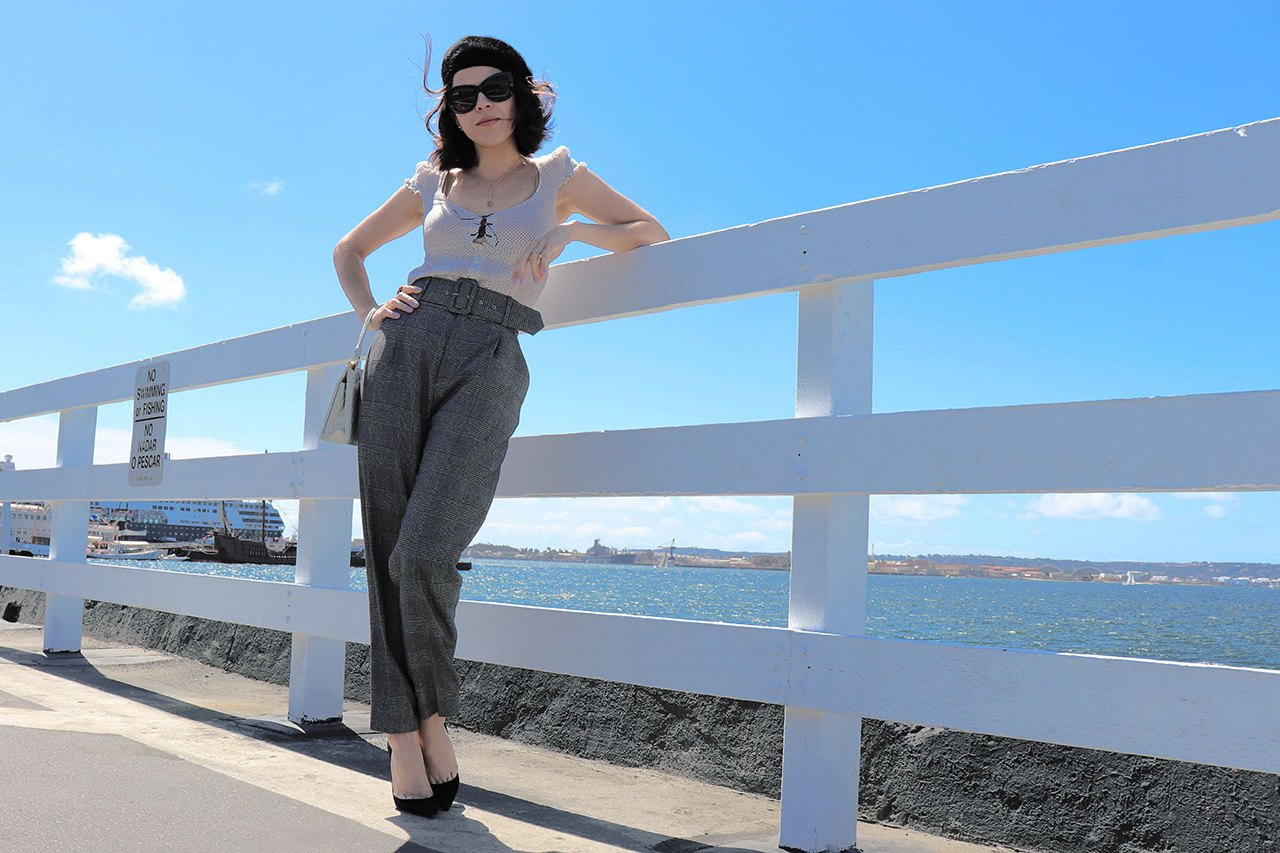 checkpants-pants-springlook-springstyle-mystylosophy-sandiegostyle-karlavargas-beretstyle