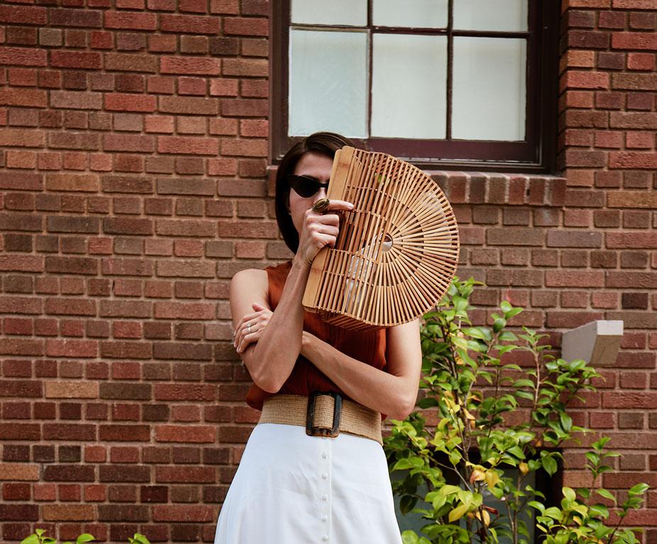 San Diego Style Blogger wearing Cult Gaia bag