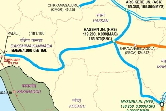 System Map of Mysuru Mangaluru Railway Line via Hassan including Arsikere