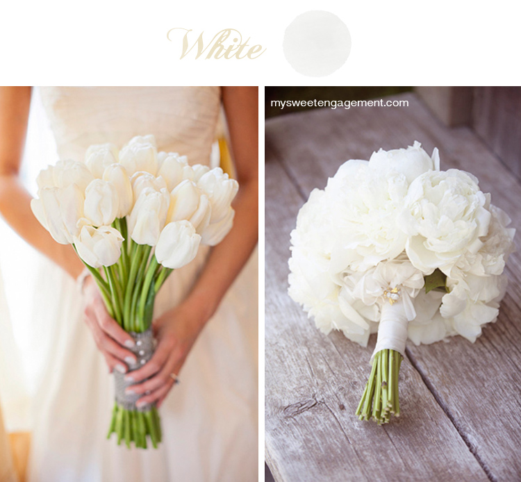8 Wedding Bouquet Color Inspirations - White flowers | More on: http://mysweetengagement.com/50-shades-of-flowers-wedding-bouquet-color-inspiration