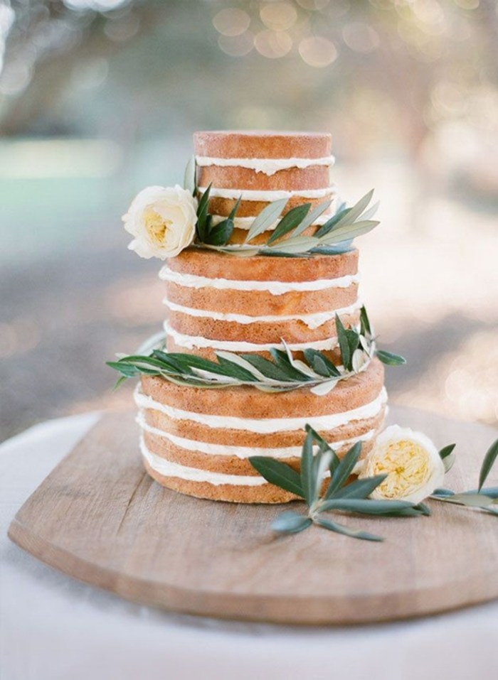 Naked wedding cake with olive leaves | See more: http://mysweetengagement.com/15-extraordinary-wedding-cakes-for-all-wedding-styles