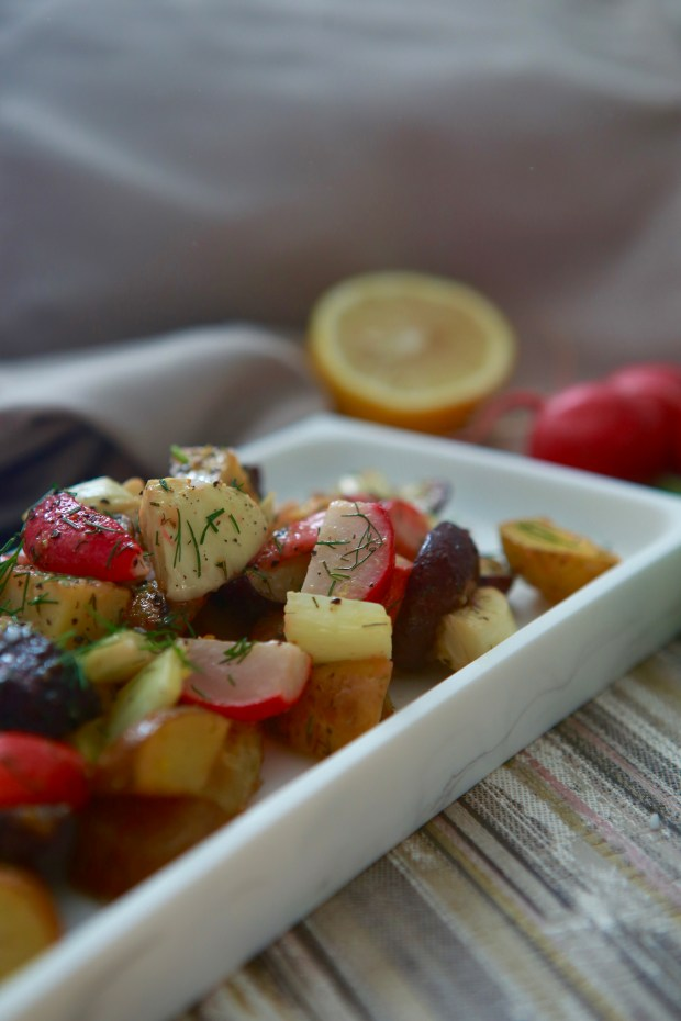 Roasted potatoes with radish and fennel