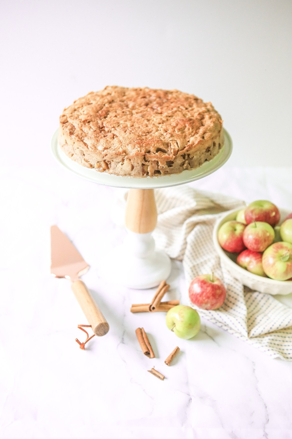 Whole apple cream cheese coffee cake