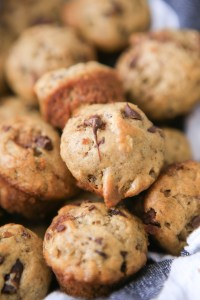 Scrumptious dark chocolate, pecan and banana mini muffins