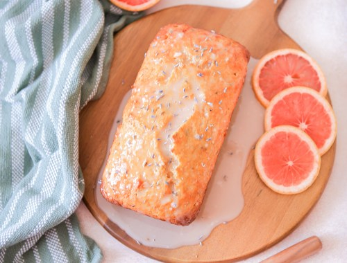 Beautiful citrusy sweet grapefruit lavender loaf with grapefruit lavender glaze