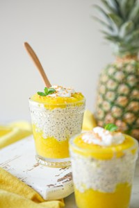 Vegan roasted pineapple and coconut overnight oats topped with rich coconut milk and toasted coconut | Vegan, gluten-free, refined sugar-free | breakfast | healthy breakfast option | make ahead breakfast |