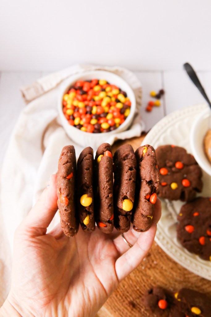 Soft chocolate peanut butter cookies filled with Reese's Pieces and chocolate chips | cookies | baking cookies | baking with kids | chocolate cookies | Reese's Pieces | peanut butter cookies | nut butter