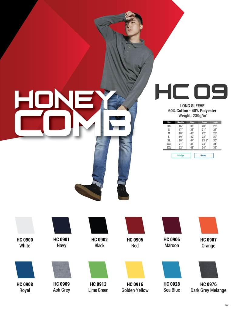 HC09 oren sport polo long sleeve honeycomb plain