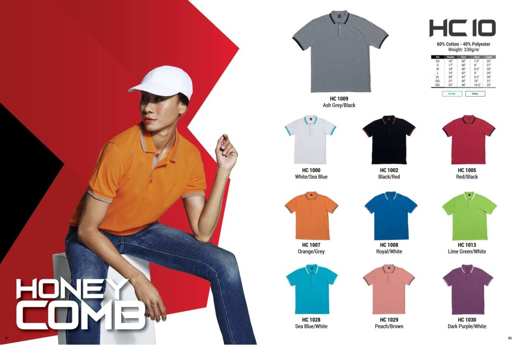 HC10 oren sport polo honeycomb plain