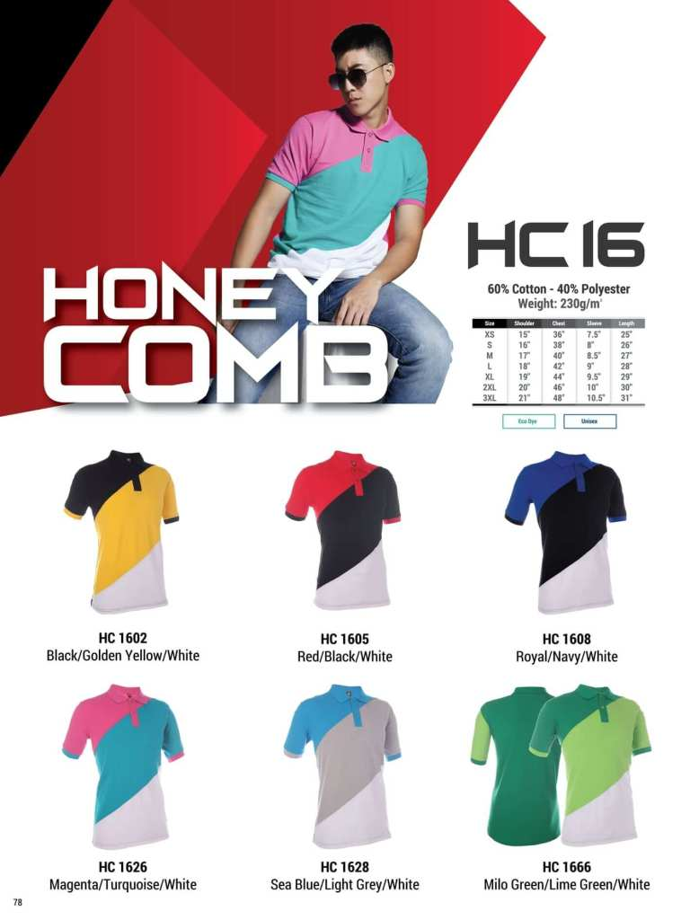 HC16 oren sport polo honeycomb plain