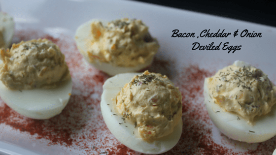 My Table of Three Bacon Cheddar and Onion Deviled eggs are a great twist on a classic dish.