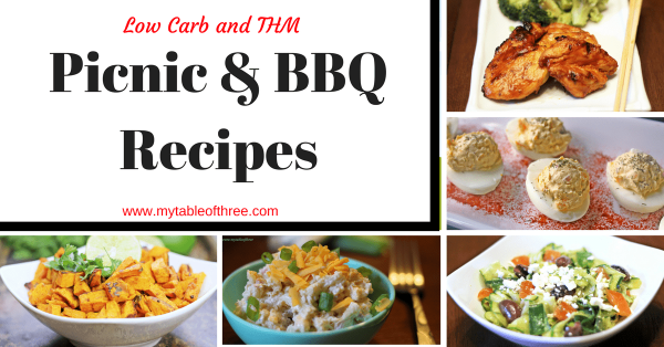 A list of great low carb and THM recipes for picnics and summer bbqs.