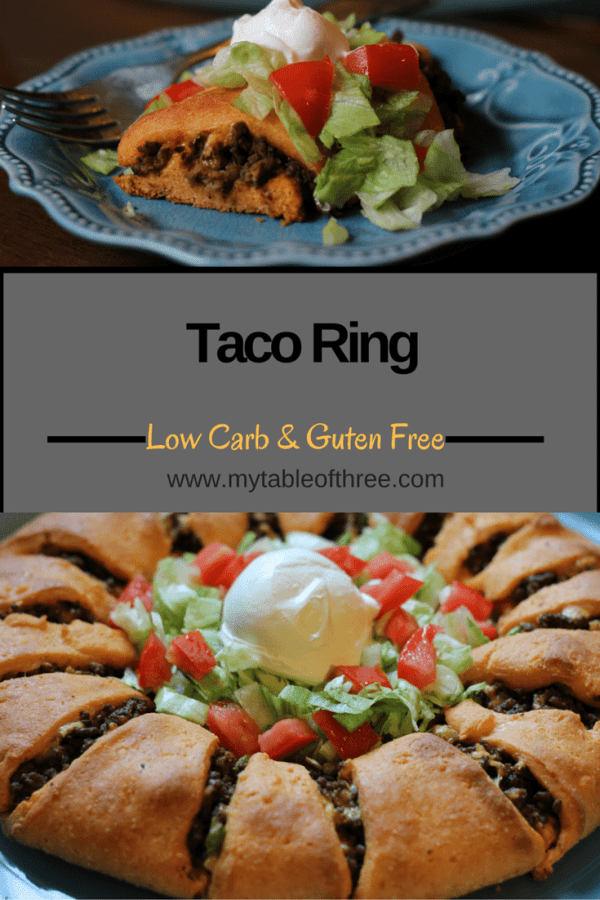 This Low Carb Taco Ring is gluten and grain free. It works well with low carb, keto and Trim Heatlhy Mama eating plans.