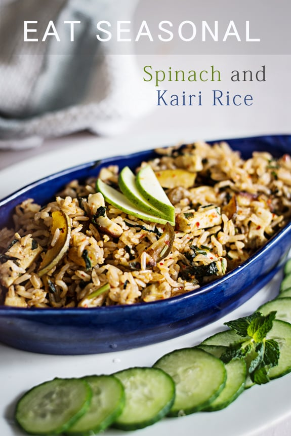 Kacchi Kairi and Palak fried rice is, quick, easy and delicious one pot meal which makes an excellent vegetarian meal with a bowl of chilled yogurt or curd. Ideal Indian meal to carry as packed lunchbox to office