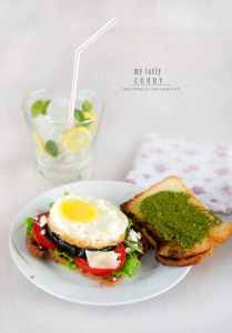 Fried Egg and Eggplant Sandwich on Brioche