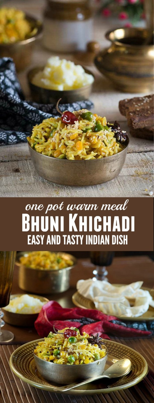 Bhuni Khichadi is a dish that is cooked on Makar Sankranti in most of northern India. From as long as I remember, bhuni khichadi and Chawal ki kheer are two staple dishes Mom used to make for the breakfast on the day of makar Sankranti which falls on next day to lohri