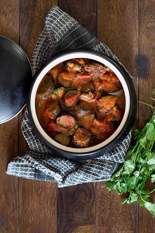 Baingan Tamatar ki sabzi is quick sabzi from Multani Cuisine can be made in under 20 minutes. This eggplant and tomato curries tastes best when Amritsari wadiyan is added to the curry.