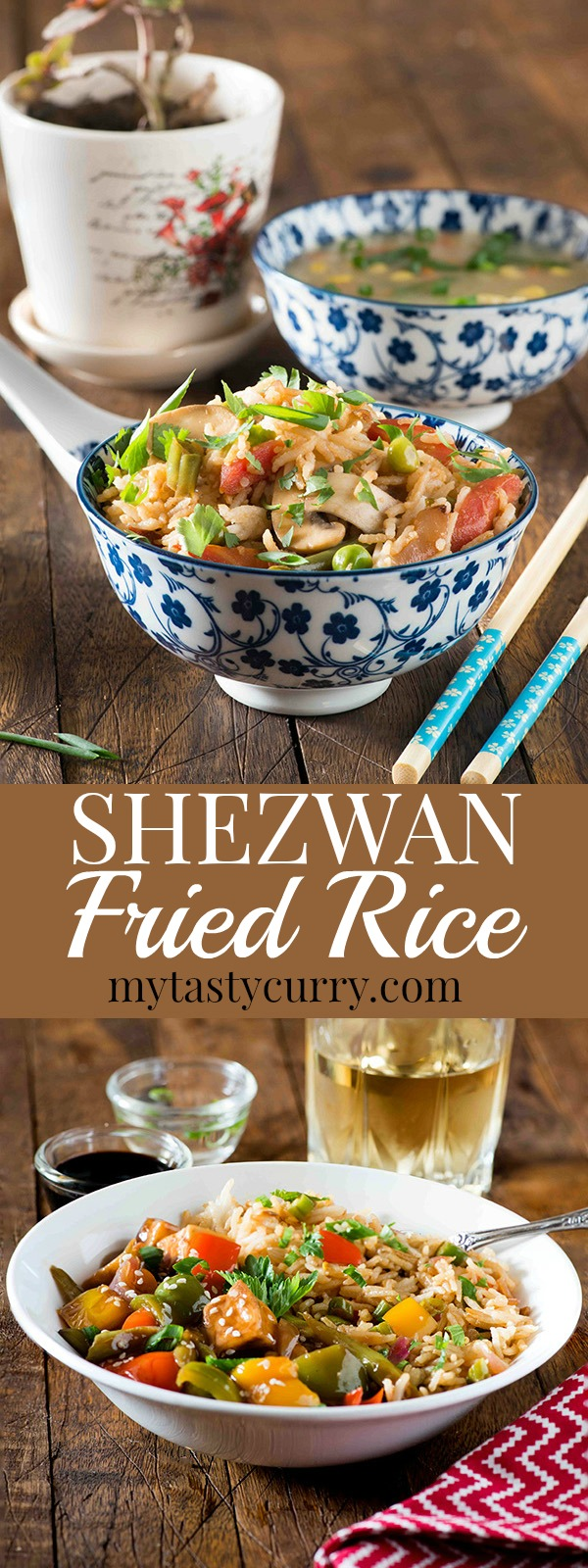 Indo chinese Schezwan fried rice is a favourite at home. It's quick, It's spicy and it's tasty and ready in 20 minutes. All you need is lots of vegetables and cooked rice for making this schezwan fried rice recipe. For me making such dishes is always more convenient than ordering a takeout as I always have these convenient chopped veggie boxes ready to go