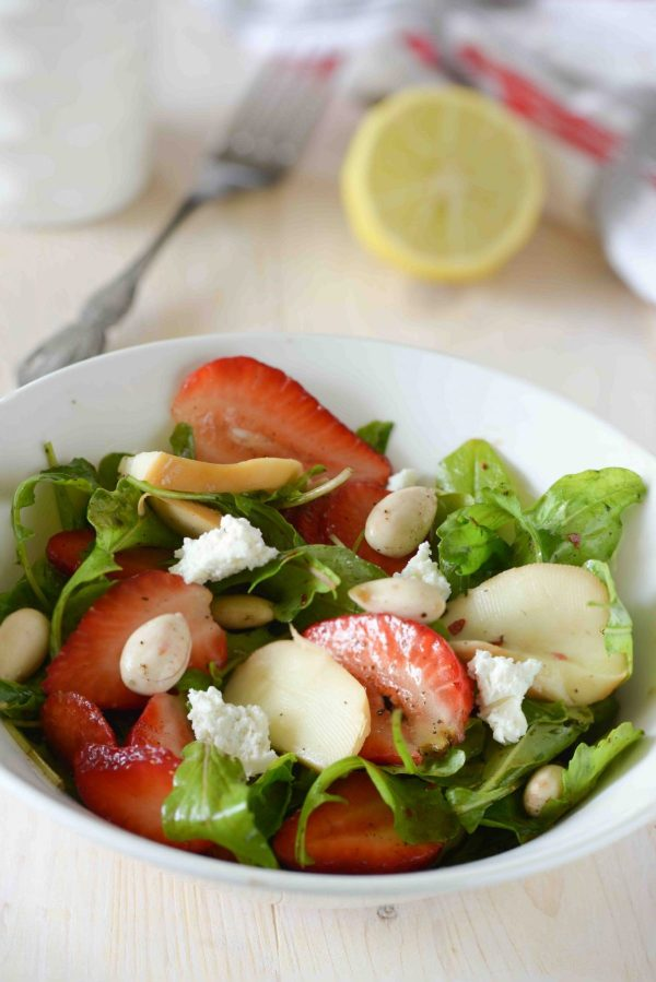 Strawberry and rocket salad is sweet spicy tangy flavourful and healthy salad. What I love most about this salad is a combination of all these delicious flavours in just one salad.