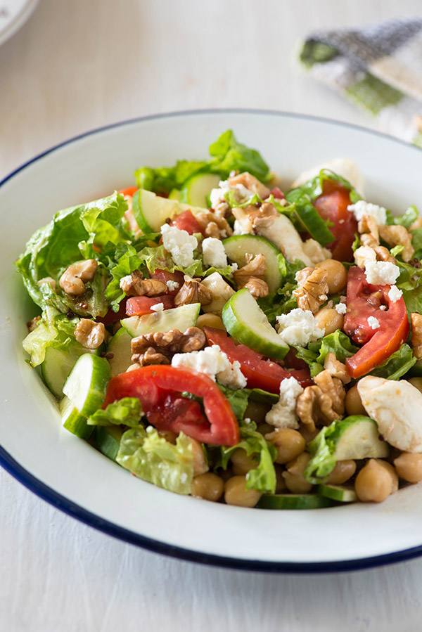 Greek Chickpeas salad is Refreshing salty with lots of Feta cheese, crunchy vegetables with Chickpeas and a super simple vinaigrette dressing makes it an easy light meal or a refreshing side dish.