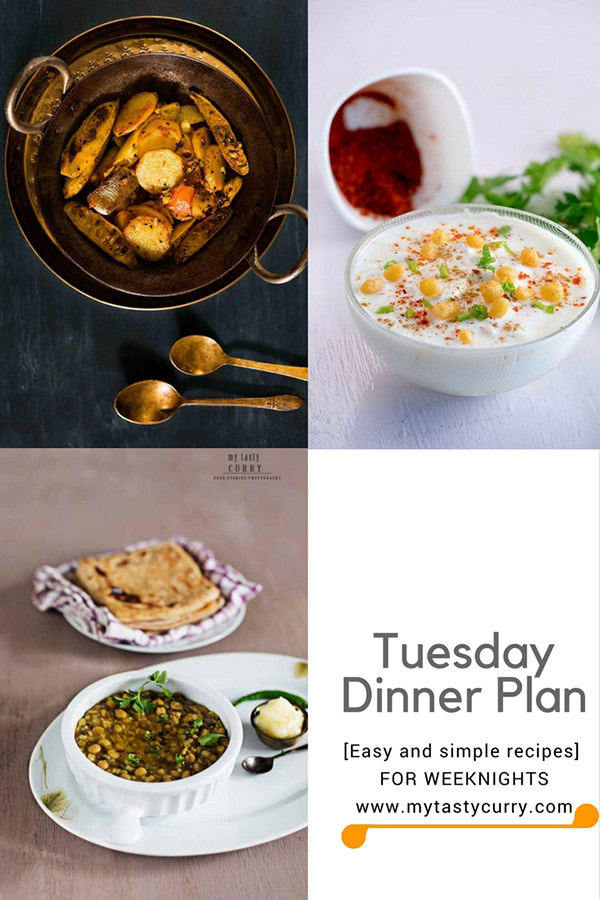 Indian meal plan for a week with easy recipes. Indian dinner plan for weekdays dinner. Menu plan Indian.
