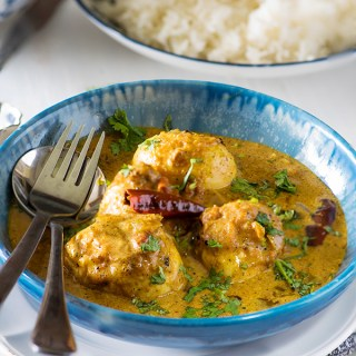 Sri Lankan egg curry is spicy egg curry where fried eggs are cooked in a spicy coconut based gravy. The curry goes best with string hoppers, appams and Sri Lankan string hoppers.