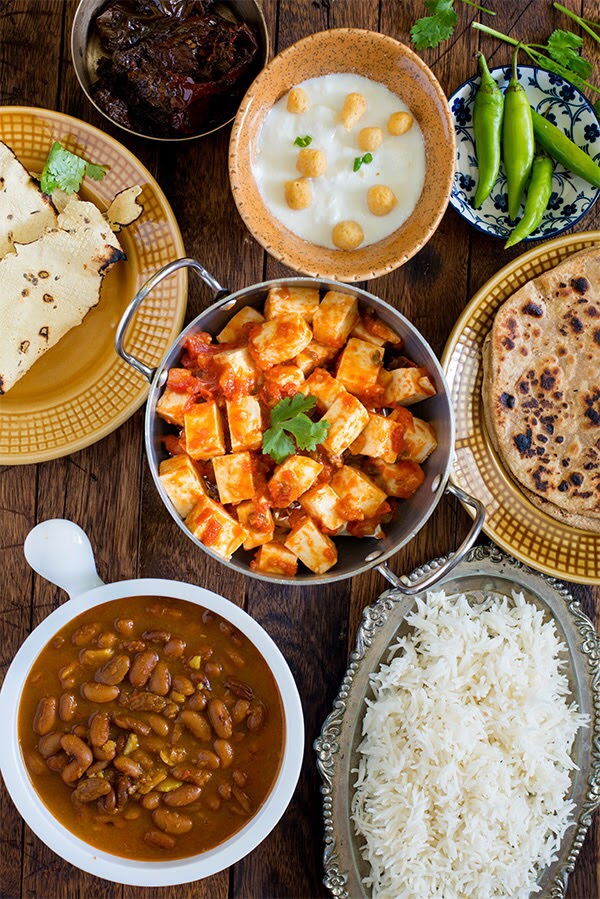 Paneer Tomato and Rajma curry Meal