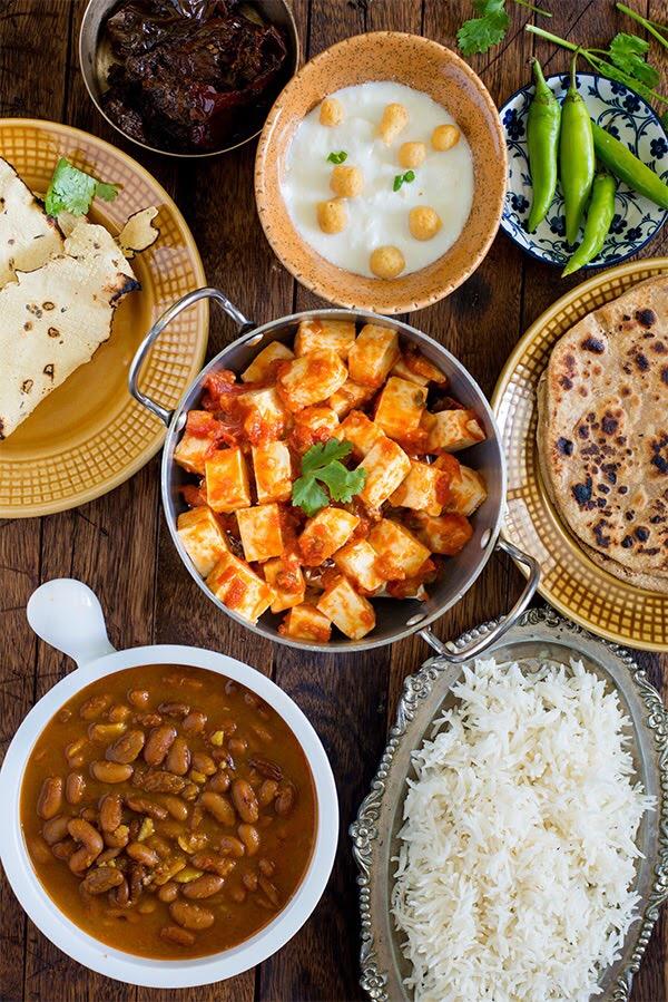 Paneer Tomato and Rajma Rice Meal