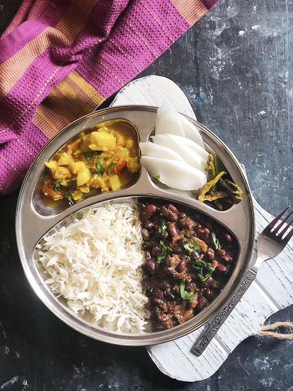Rajma Chawal Ghia Sabzi salad meal
