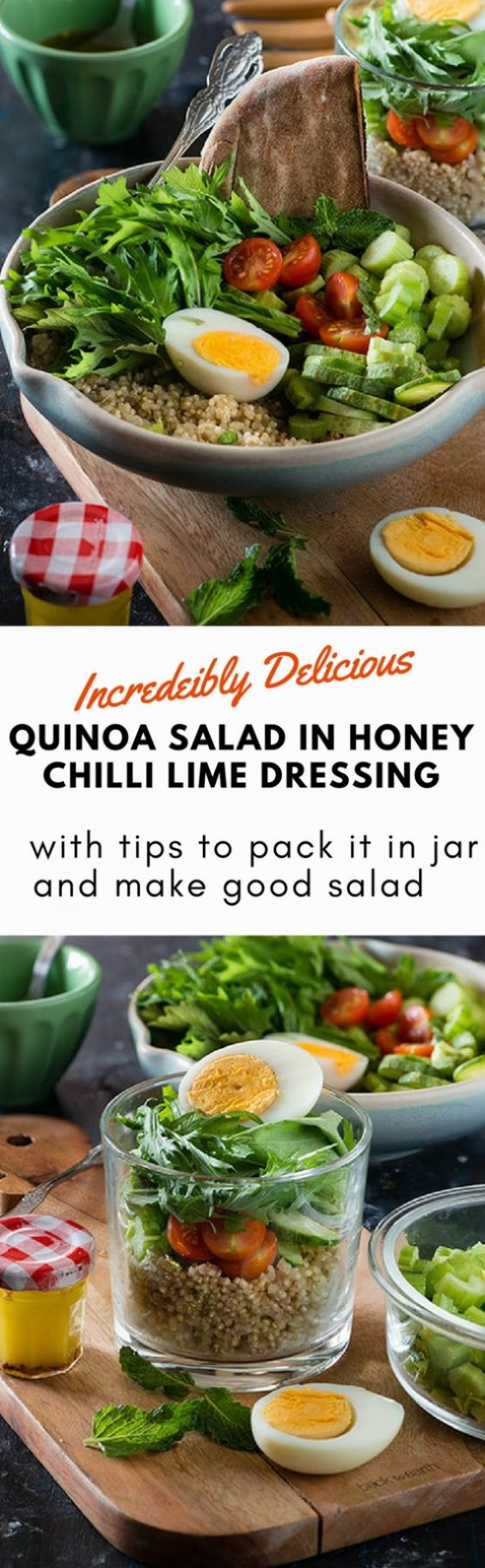 Quinoa salad with Mizuna leaves. This Mizuna and quinoa salad is incredibly delicious, HEALTHY and filling salad for lunch. With honey chilli lime dressing it makes an excellent quinoa salad for lunch. You can pack this quinoa salad in Jar for delicious packed lunch for office or school #vegetarian #LowGI #Paleo #Glutenfree via @rekhaKakkar.