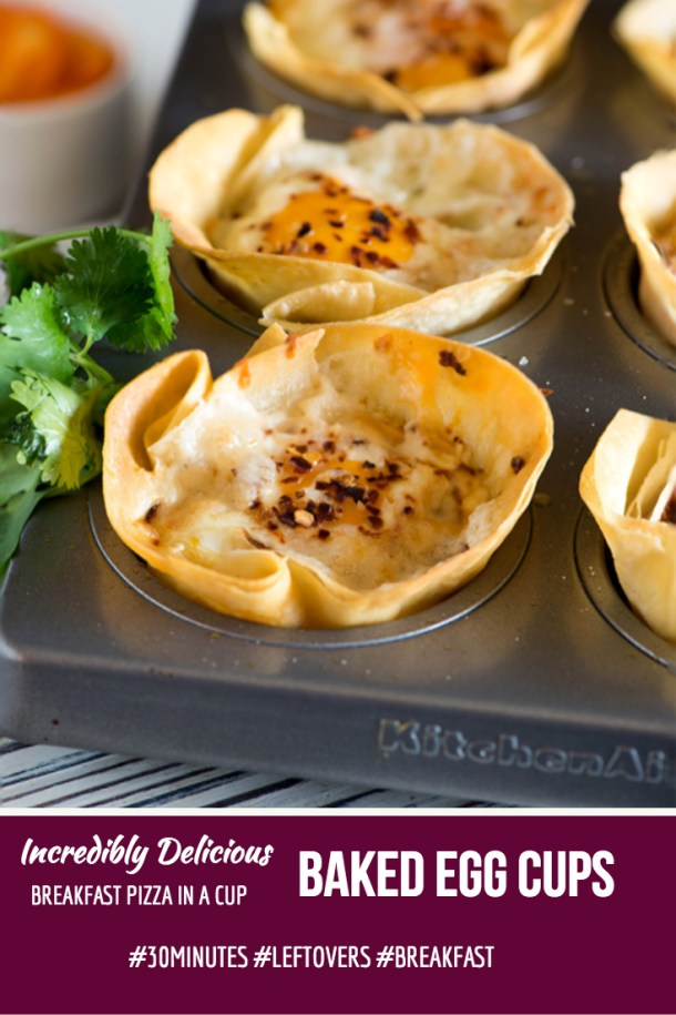 These baked egg cups are like pizza cupcakes. They are 'sunny side up' omelette in a crisp baked breakfast cup made with the leftover rotis or tortilla. My favourite way to use up leftovers and perfect go-to breakfast when you are on-the-go!