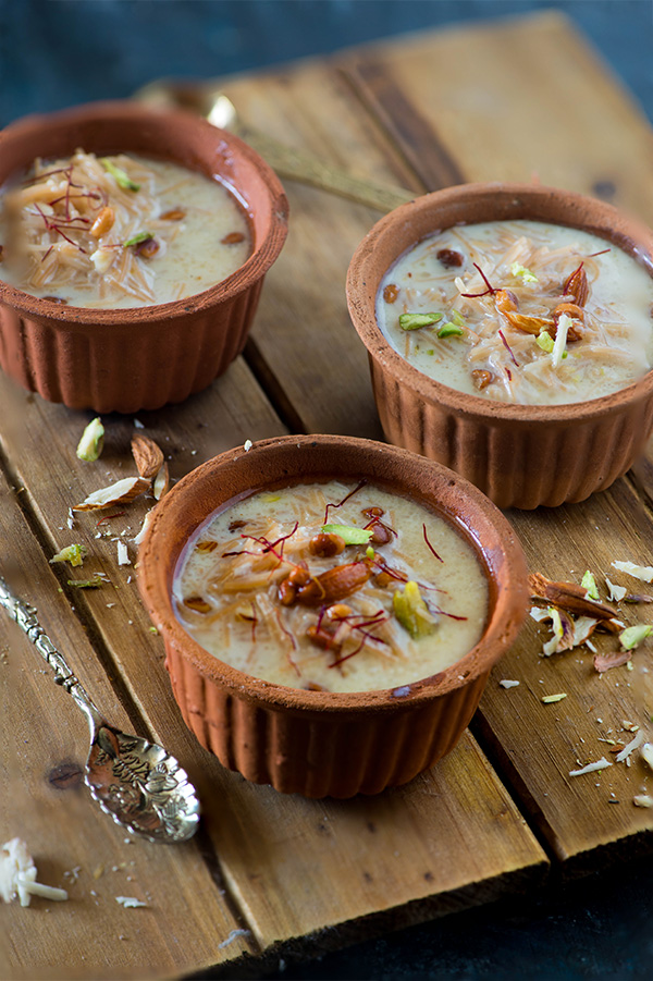 Sheer khurma, also known as sheer korma is a traditional and rich Mughlai dessert from Hyderabad. A festive dessert which is specially prepared on Eid-ul-Fitr and in the month of Ramadan for Iftar.